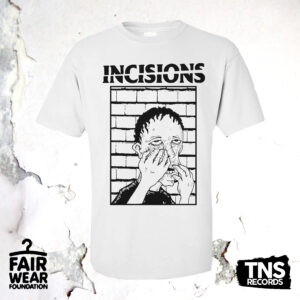 White t-shirt available with the pre-order of Manchester hardcore punks Incisions. Available now from TNSrecords.